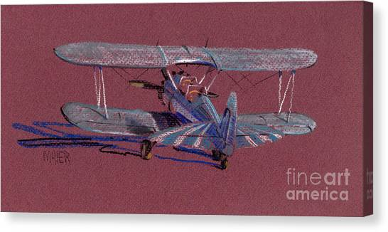 Biplane Canvas Print - Steerman Biplane by Donald Maier