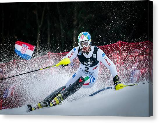 Sports Canvas Print - Stefano Gross On Snow Queen Trophy-zagreb by Roman Martin