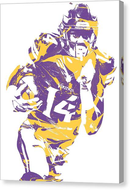 Minnesota Vikings Canvas Print - Stefon Diggs Minnesota Vikings Pixel Art 2 by Joe Hamilton
