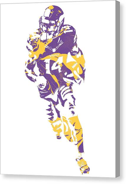 Minnesota Vikings Canvas Print - Stefon Diggs Minnesota Vikings Pixel Art 3 by Joe Hamilton