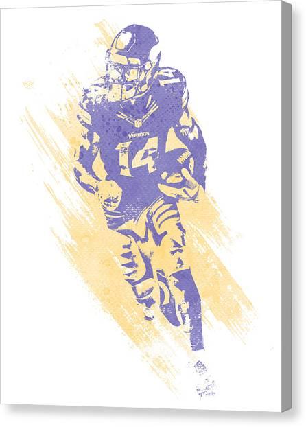Minnesota Vikings Canvas Print - Stefon Diggs Minnesota Vikings Water Color Art 1 by Joe Hamilton