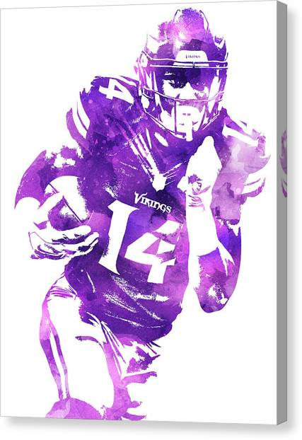 Minnesota Vikings Canvas Print - Stefon Diggs Minnesota Vikings Water Color Pixel Art 1 by Joe Hamilton