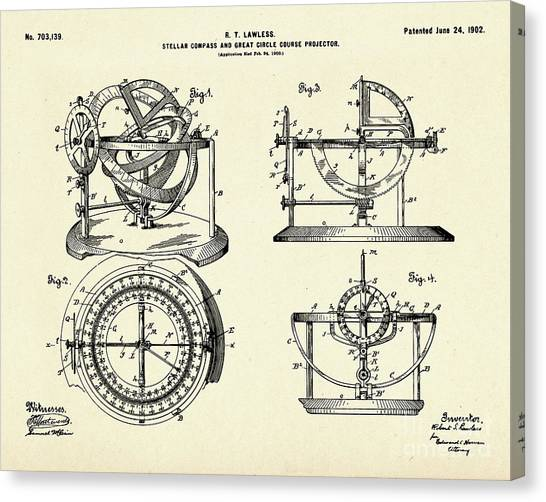 Stellar Canvas Print - Stellar Compass And Great Circle Course Projector-1902 by Pablo Romero