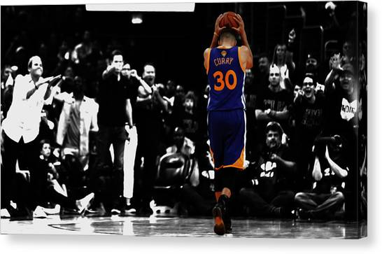 Three Pointer Canvas Print - Stephen Curry 4f by Brian Reaves