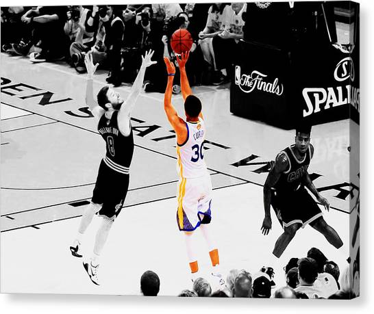 Three Pointer Canvas Print - Stephen Curry Another 3 by Brian Reaves
