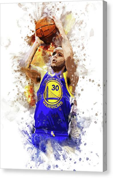 Stephen Curry Canvas Print - Stephen Curry, Golden State Warriors by Afrio Adistira