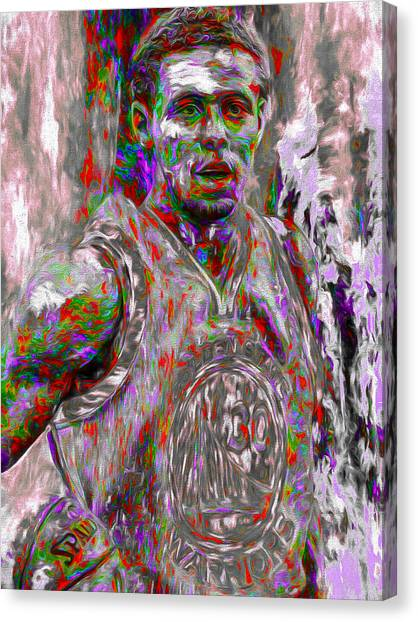 Stephen Curry Canvas Print - Stephen Curry Golden State Warriors Digital Painting 2 by David Haskett II