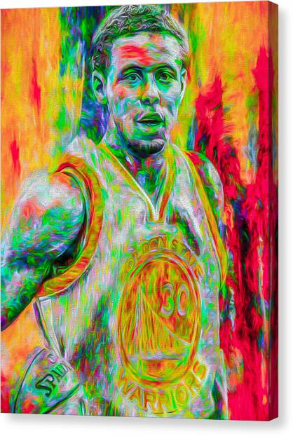 Stephen Curry Canvas Print - Stephen Curry Golden State Warriors Digital Painting by David Haskett II