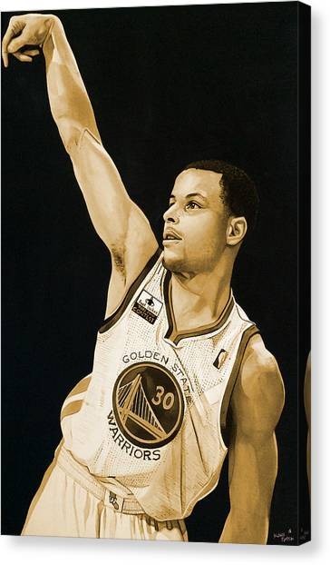 Stephen Curry Canvas Print - Stephen Curry Golden State Warriors   by Michael  Pattison