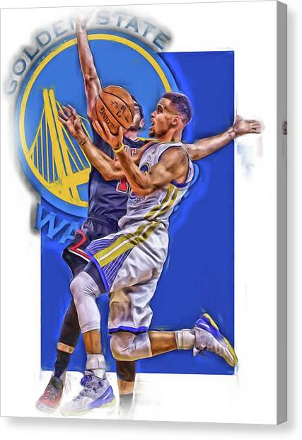 Stephen Curry Canvas Print - Stephen Curry Golden State Warriors Oil Art by Joe Hamilton