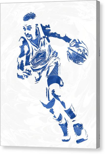 Stephen Curry Canvas Print - Stephen Curry Golden State Warriors Pixel Art 12 by Joe Hamilton