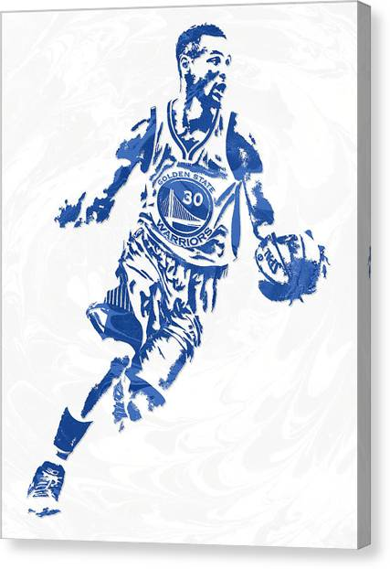 Stephen Curry Canvas Print - Stephen Curry Golden State Warriors Pixel Art 13 by Joe Hamilton