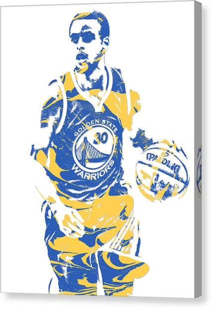 Stephen Curry Canvas Print - Stephen Curry Golden State Warriors Pixel Art 21 by Joe Hamilton