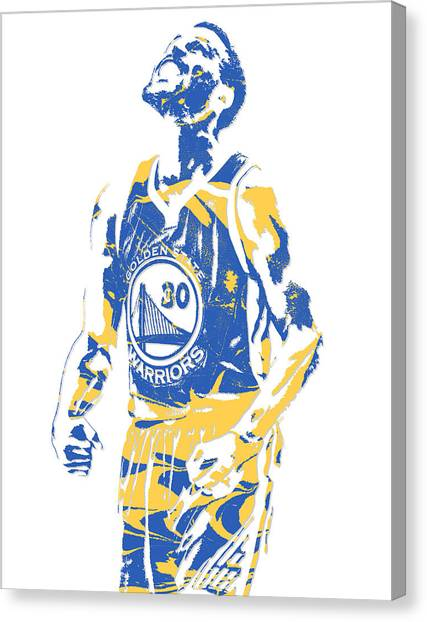 Stephen Curry Canvas Print - Stephen Curry Golden State Warriors Pixel Art 22 by Joe Hamilton