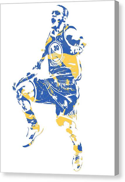 Stephen Curry Canvas Print - Stephen Curry Golden State Warriors Pixel Art 23 by Joe Hamilton