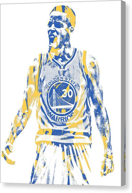Stephen Curry Canvas Print - Stephen Curry Golden State Warriors Pixel Art 30 by Joe Hamilton
