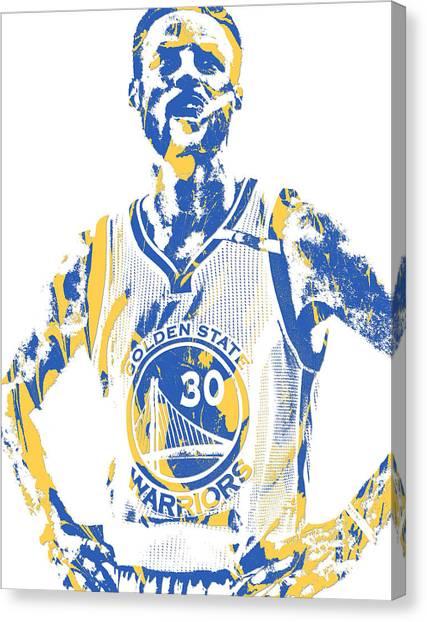 Stephen Curry Canvas Print - Stephen Curry Golden State Warriors Pixel Art 31 by Joe Hamilton