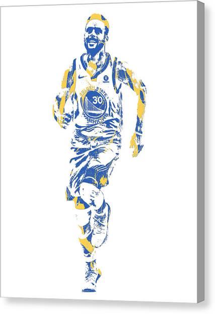 Stephen Curry Canvas Print - Stephen Curry Golden State Warriors Pixel Art 32 by Joe Hamilton