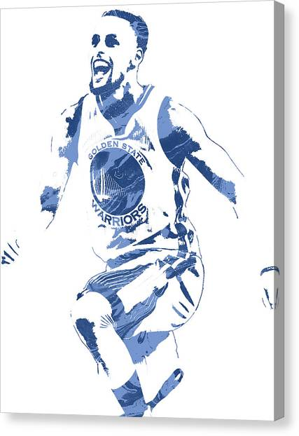 Stephen Curry Canvas Print - Stephen Curry Golden State Warriors Pixel Art 4 by Joe Hamilton