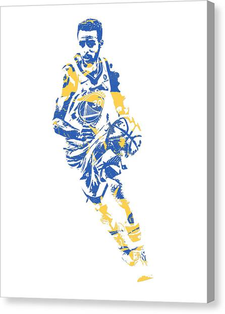Stephen Curry Canvas Print - Stephen Curry Golden State Warriors Pixel Art 50 by Joe Hamilton