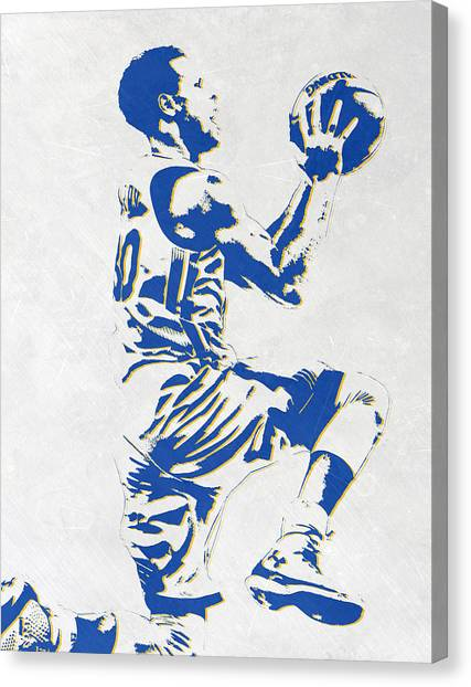 Stephen Curry Canvas Print - Stephen Curry Golden State Warriors Pixel Art by Joe Hamilton