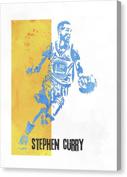 Stephen Curry Canvas Print - Stephen Curry Golden State Warriors Water Color Art 1 by Joe Hamilton