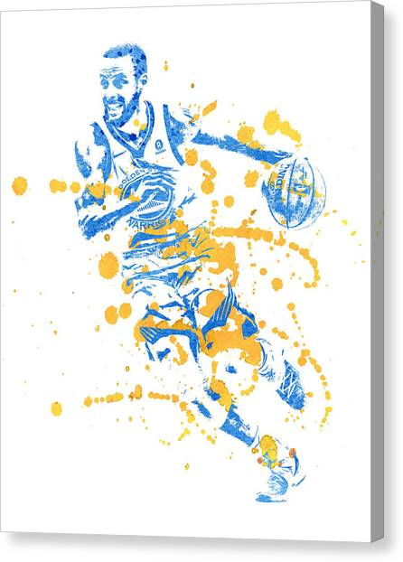Stephen Curry Canvas Print - Stephen Curry Golden State Warriors Water Color Art 2 by Joe Hamilton