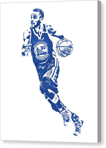 Stephen Curry Canvas Print - Stephen Curry Golden State Warriors Water Color Pixel Art 1 by Joe Hamilton