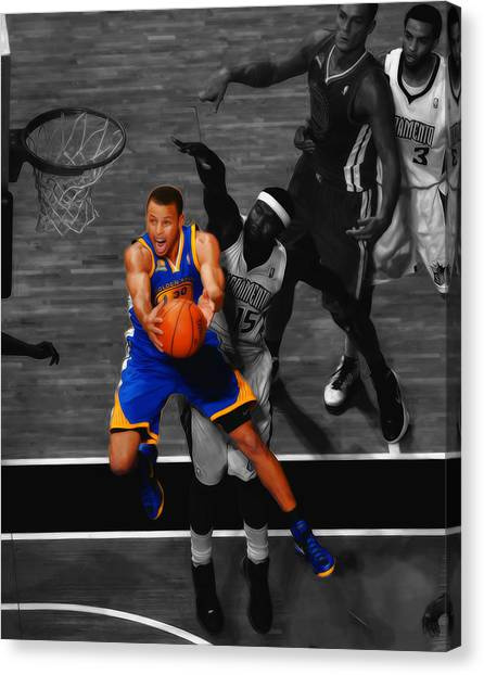 Stephen Curry Canvas Print - Stephen Curry In Flight by Brian Reaves