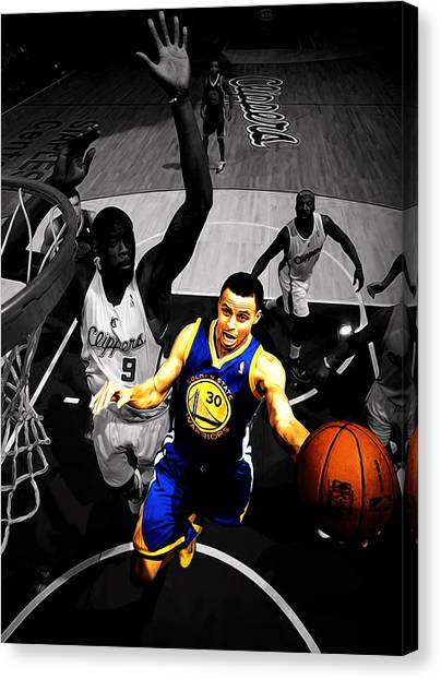 La Clippers Canvas Print - Stephen Curry In Traffic by Brian Reaves