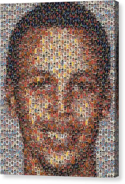 Stephen Curry Canvas Print - Stephen Curry Michael Jordan Card Mosaic by Paul Van Scott