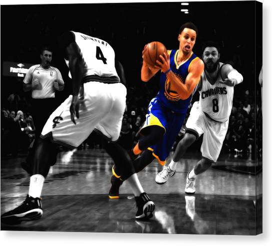 Three Pointer Canvas Print - Stephen Curry On The Move by Brian Reaves