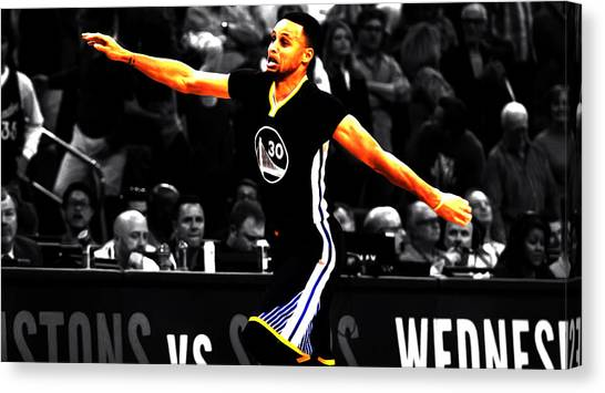 Three Pointer Canvas Print - Stephen Curry Scores Again by Brian Reaves