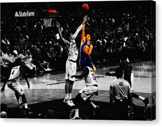 Three Pointer Canvas Print - Stephen Curry Soft Touch by Brian Reaves