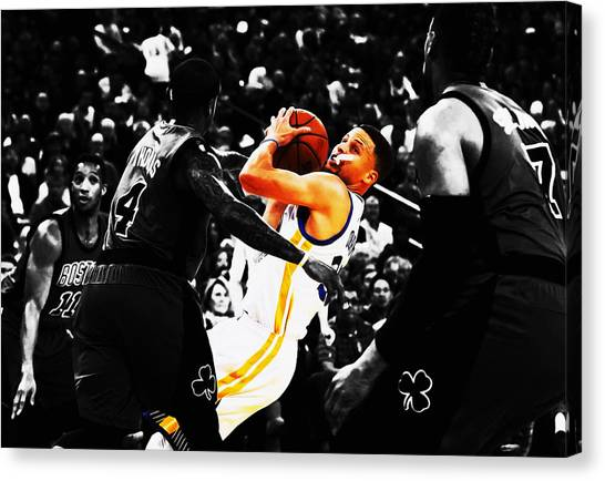 Three Pointer Canvas Print - Stephen Curry Stay Focused by Brian Reaves