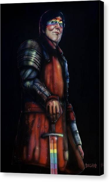 Atheism Canvas Print - Stephen Fry As A Powerful Gay Knight With Rainbow Sword  Original Available by Jason  Wright