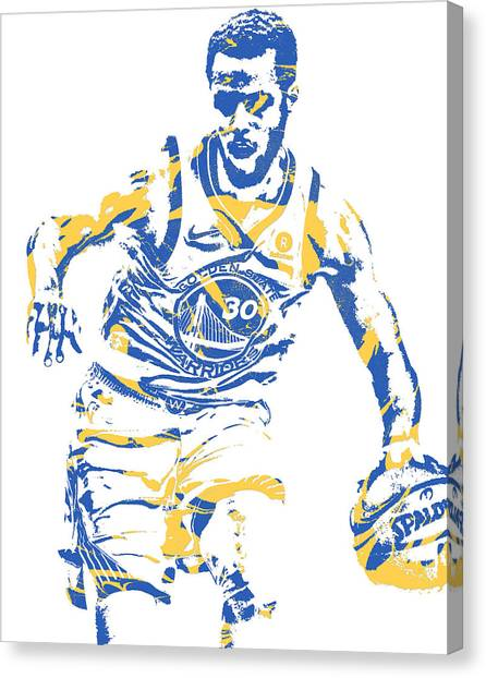 Stephen Curry Canvas Print - Stephrn Curry Golden State Warriors Pixel Art 81 by Joe Hamilton