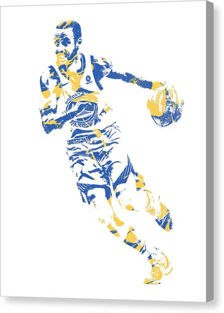 Stephen Curry Canvas Print - Stephrn Curry Golden State Warriors Pixel Art 83 by Joe Hamilton