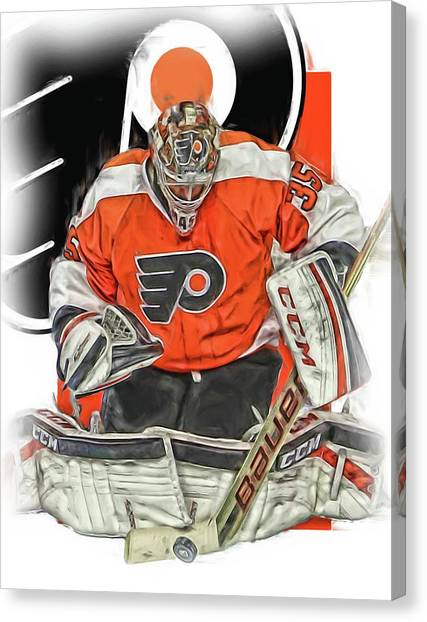Philadelphia Flyers Canvas Print - Steve Mason Philadelphia Flyers Oil Art by Joe Hamilton