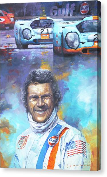 Automotive Art Canvas Print - Steve Mcqueen Le Mans Porsche 917 by Yuriy Shevchuk