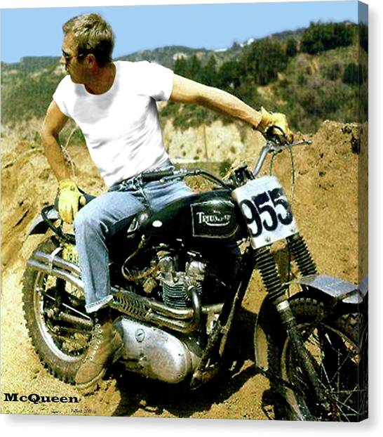 Dirt Bikes Canvas Print - Steve Mcqueen, Triumph Motorcycle, On Any Sunday by Thomas Pollart