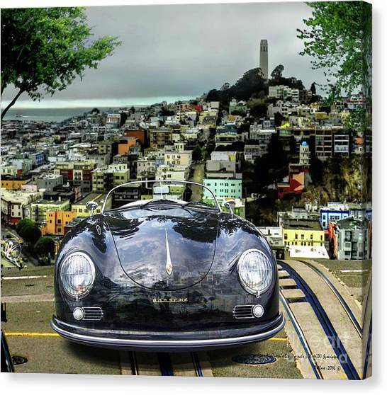 Daytona 500 Canvas Print - Steve Mcqueen's 58' Porsche 356 1600 Speedster, Telegraph Hill, San Francisco, Ca by Thomas Pollart