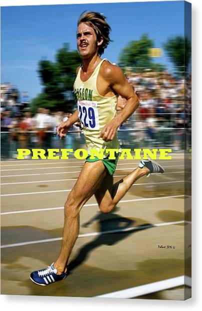 Pac 12 Canvas Print - Steve Prefontaine, The Legend, Oregon Ducks by Thomas Pollart