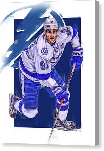 Tampa Bay Lightning Canvas Print - Steven Stamkos Tampa Bay Lightning Oil Art Series 1 by Joe Hamilton