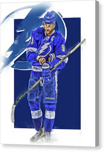 Tampa Bay Lightning Canvas Print - Steven Stamkos Tampa Bay Lightning Oil Art Series 2 by Joe Hamilton