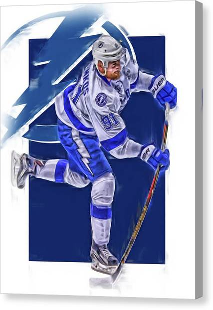 Tampa Bay Lightning Canvas Print - Steven Stamkos Tampa Bay Lightning Oil Art Series 3 by Joe Hamilton