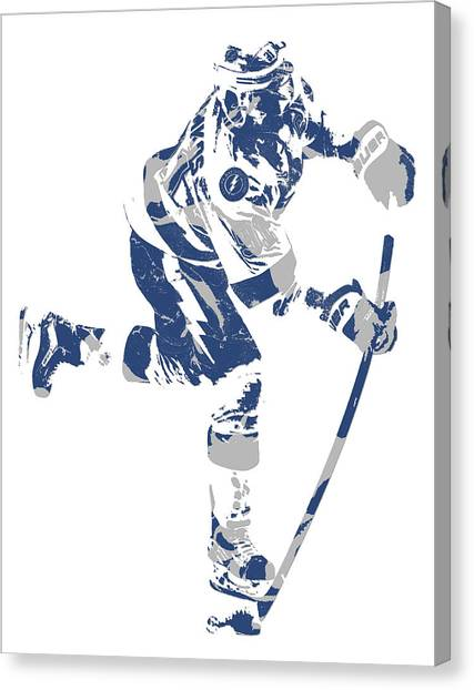 Tampa Bay Lightning Canvas Print - Steven Stamkos Tampa Bay Lightning Pixel Art 1 by Joe Hamilton