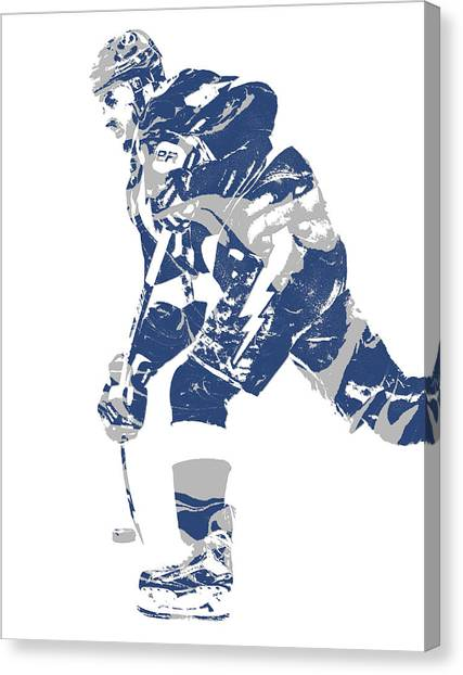 Tampa Bay Lightning Canvas Print - Steven Stamkos Tampa Bay Lightning Pixel Art 2 by Joe Hamilton