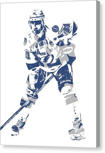 Tampa Bay Lightning Canvas Print - Steven Stamkos Tampa Bay Lightning Pixel Art 3 by Joe Hamilton