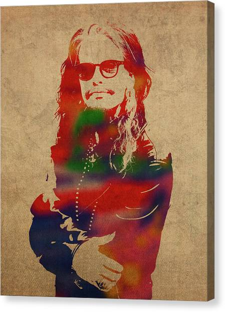 Aerosmith Canvas Print - Steven Tyler Watercolor Portrait Aerosmith by Design Turnpike